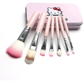 BELLA HARARO Hello Kitty Complete Makeup Mini Brush Kit with A Storage Box - Set of 7 Pieces