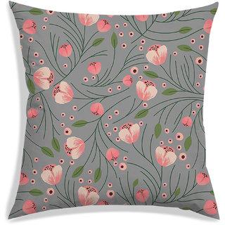 RADANYA Floral Cushion Cover,Gray,40X40 cm (16X16)