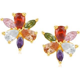 VK Jewels Nice Flower Multicolor Gold and Rhodium Plated Alloy Earrings CZ American Diamond Stud Earrings for Women [VKER1700G]