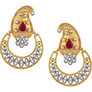 VK Jewels Paisley Semicircular Pattern Gold Plated Alloy CZ American Diamond Drop Earring for Women - VKER1862G