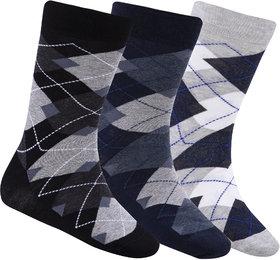 N2S NEXT2SKIN Men's Seamless Regular Length Cotton Socks-Pack of 3 Pairs (Black:Navy Blue:Light Grey)