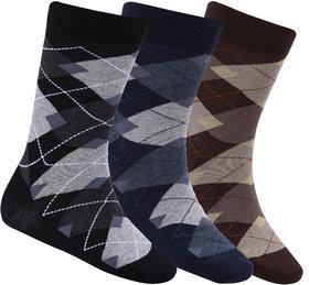 N2S NEXT2SKIN Men's Seamless Regular Length Cotton Socks-Pack of 3 Pairs (Black:Navy:Brown)