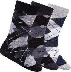 N2S NEXT2SKIN Men's Seamless Regular Length Cotton Socks-Pack of 3 Pairs (Black:Charcoal Grey:Light Grey)