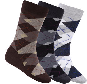 N2S NEXT2SKIN Men's Seamless Regular Length Cotton Socks-Pack of 3 Pairs (Brown:Charcoal Grey:Light Grey)