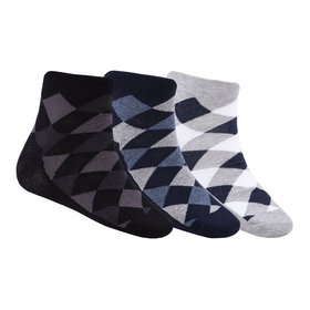 N2S NEXT2SKIN Men's Seamless Ankle Length Cotton Socks-Pack of 3 Pairs (Black:Navy:Light Grey)