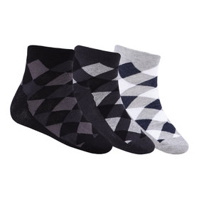N2S NEXT2SKIN Men's Seamless Ankle Length Cotton Socks-Pack of 3 Pairs (Black:Charcoal Grey:Light Grey)