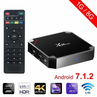 Artek X96 Mini Android 7.1 Smart Android Box with Amlogic S905W Quad Core 64 bit Cortex 1GB DDR3 RAM/8GB ROM  WiFi 4K Vi