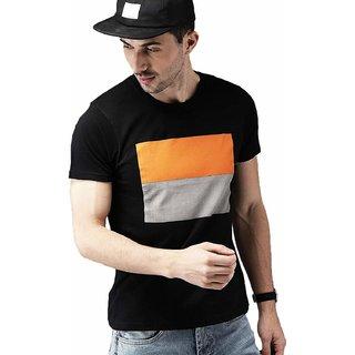 Odoky Black Round Neck T-Shirt For Men