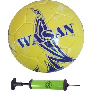 Wasan Pro Football Size 5 - Yellow/Blue with Free Pump (12 Years and Above)