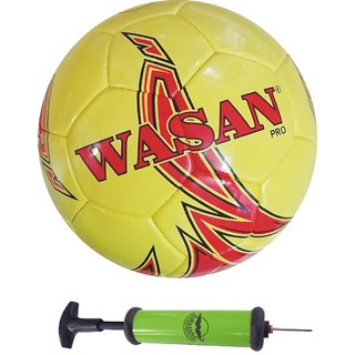 Wasan Pro Football Size 5 - Yellow/Red with Free Pump (12 Years and Above)