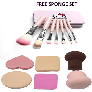 BELLA HARARO Metal Synthetic Makeup Brushes (Set of 7), Face Contour Brush, Blusher Brush with Sponge Makeup set 6