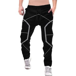 Odoky Black Geometric Design Men Cotton Trackpant NR