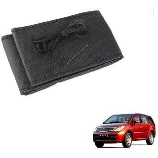 Auto Addict Car Leatherite Black Steering Wheel Cover Stitchable For Tata Aria