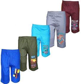 Kavin's Cotton Capri for Kids,Pack of 5,Unisex,Multicolored-Verna