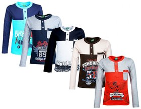 Kavin's Cotton Full-Sleeve T-Shirts for Kids, Pack of 5, Unisex, Multicolored - Crown