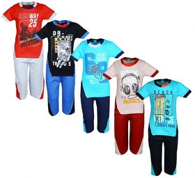 Kavin's 3/4th Pant with Half-Sleeve Tees for Kids, Pack of 5, Unisex, Multicolored-Boss