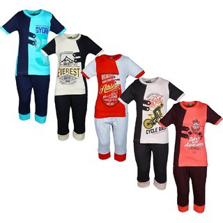 Kavin's 3/4th Pant with Half-Sleeve Tees for Kids, Pack of 5, Unisex, Multicolored - Magik