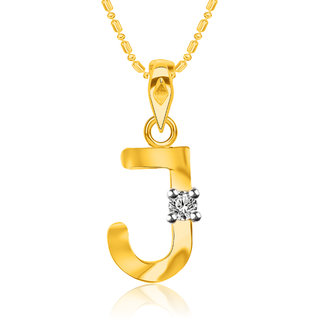 VK Jewels Initial J Gold Plated CZ American Diamond Alphabet Pendant with Chain for Women & Girls [VKP2811G]