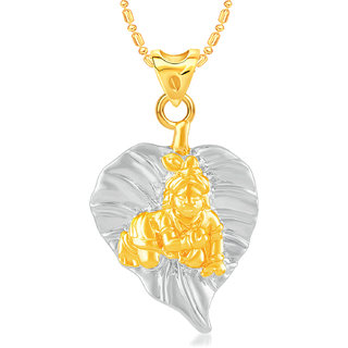 VK Jewels Bal Krishna Gold & Rhodium Plated CZ Alloy American Diamond Pendant with Chain for Men & Women [VKP3149G]