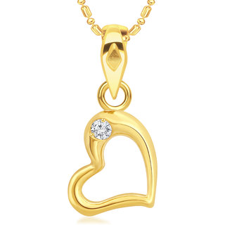VK Jewels Single Diamond Hollow Heart Gold Plated Alloy CZ American Diamond Pendant with Chain for Women & Girls [VKP2829G]