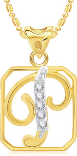 VK Jewels Initial P Cursive Gold Plated Alloy CZ American Diamond Alphabet Pendant with Chain for Women & Girls [VKP2924G]