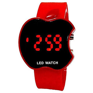 Apple Shape Red LED Kids Digital Silicone Watch For Boys Girls HK 253