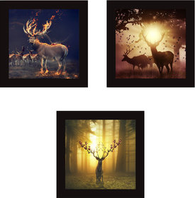 kartik Deer Wall Paintings for Living Room with Wooden Frame and Without Glass - Set of 3