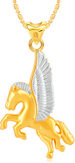 VK Jewels Horse with Wings Gold & Rhodium Plated CZ Alloy American Diamond Pendant with Chain for Girls & Women [VKP3112G]