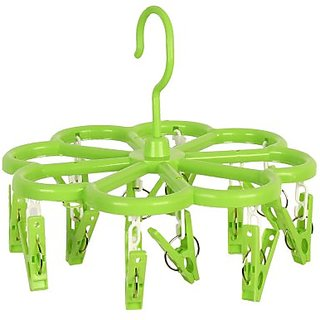 Right Traders  Home 8 Pegs Multi color Plastic Scarf Clothes Hanger Clip ( pack of 1 )