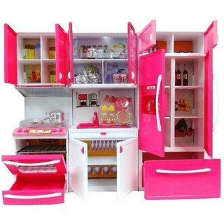 Kid S Modern Barbie Kitchen Play Set Multicolour