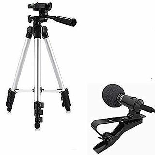 SCORIA 3110 Tripod Stand with 3 Way Head Tripod Cellphone Holder With 3.5mm Clip on Mini Collar Mic Microphone