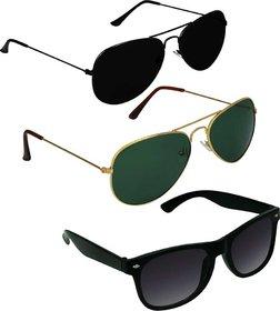 Ivonne Black Uv Protection Medium Full Rim Aviator Metal Sunglasses - Pack