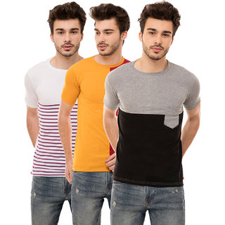 Ample Multicolor Half Sleeve Casual Men's T-Shirt Pack of 3