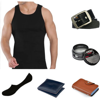 Manan fashion  combo of 6 hairs wax + socks +vest + card holder + wallet + belt ( pack of 6 ) (Synthetic leather/Rexine)