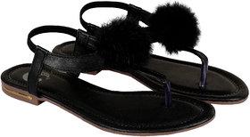 ZAVO Women's Black Fashionable Back Strap Sandals