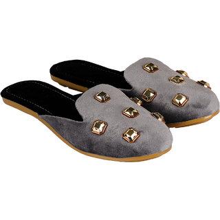 ZAVO Grey/Black Open Back Jutis & Flats For Women's and Girl's