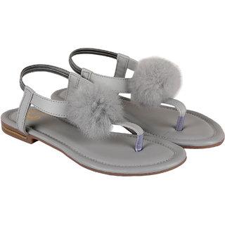 ZAVO Women's Grey Fashionable Back Strap Sandals