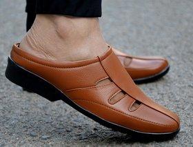 MR Cobbler Men Tan Slip on Sandals