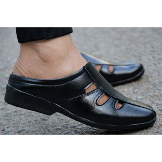 MR Cobbler Men Black Slip on Sandals