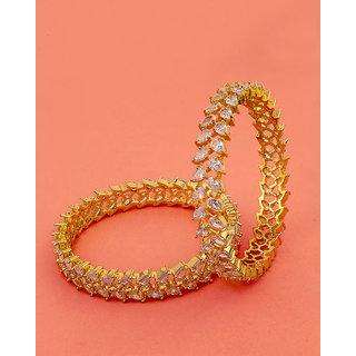 Voylla Gemstones Studded Brass Bangles