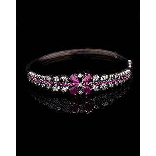 Voylla Black CZ Detailed Floral Bracelet