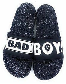 Badboy Style Slide,Flip flop,Slippers for Men and BoysSlides (Black)