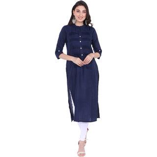 Blancora Women's 3/4th Sleeves Dark Blue Cotton Straight Kurti