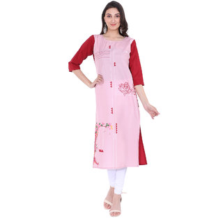 Glance Designs 3/4th Sleeves Womens Crepe Kurti