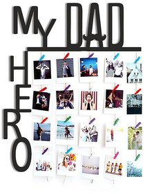 VAH My Dad My Hero wooden Hanging Photo Display Picture Frame Collage Picture Display Organizer with Wood Clips for Wall Decor Hanging Photos