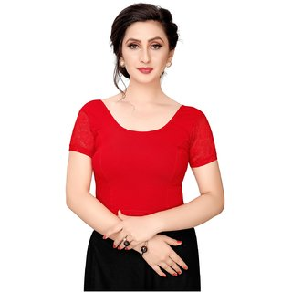 Swaron Red Cotton (Knitted) Dyed (Stretchable) Short Sleeve Blouse
