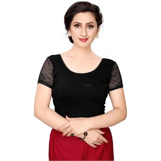 Swaron Black Cotton (Knitted) Dyed (Stretchable) Short Sleeve Blouse