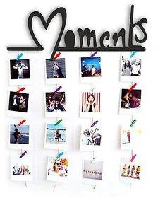 VAH MOMENT Words Hanging Photo Display Picture Frame Collage Picture Display Organizer with Wood Clips for Wall Decor Hanging Photos Prints and Artwork