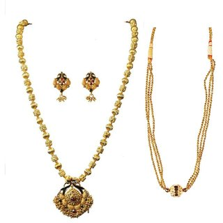 S A ATIGRE Brass Golden Choker Traditional Necklace set Combo