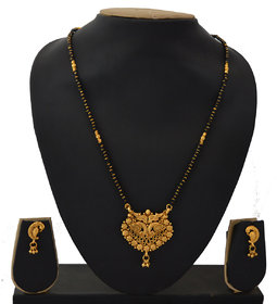 RADHEKRISHNA golden color alloy material beautiful long 24 inch mangalsutra with free golden small earrings